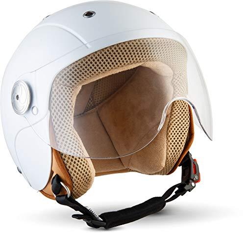 "SOXON® SK-55 ""Snow"" · Kinder Jet-Helm · Motorrad-Helm Kinder-Helm Roller-Helm Kids Scooter-Helm Vespa Bobber Mofa-Helm Chopper Retro · ECE 22.05 Visier Schnellverschluss SlimShell Tasche XS (51-52cm)"