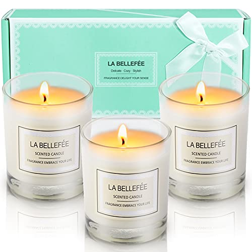 LA BELLEFÉE Scented Candles Gift Set, Natural Aromatherapy Soy Wax, 100% Cotton Wick Votive Candle for Outdoor and Indoor, Fragrances of Rose, Vanilla, Jasmine - 3 Packs