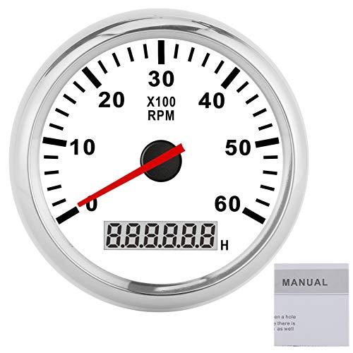 Tacómetro Digital Medidor de 6000 RPM con medidor de horas IP67 Impermeable 12V / 24V 85mm Pantalla LCD para coche, camión, barco(Marco plateado sobre blanco)