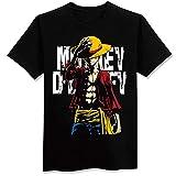 Boy Summer Camiseta De Manga Corta Anime One Piece Luffy Impreso Algodón Tops Unisex (1,S)
