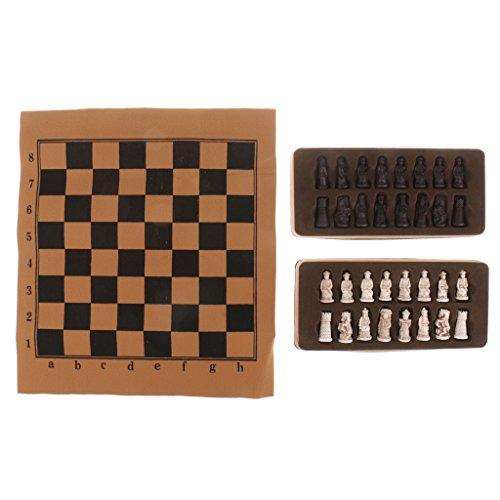 Homyl - Estatuetas chinesas antigas, conjunto de xadrez com tabuleiro de xadrez dobrável