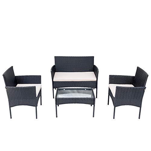Belissy Set di mobili da balcone in rattan sintetico, da giardino, balcone, terrazzo, divano, set di mobili da giardino in polyrattan, per mobili da giardino, balcone e terrazza (nero + rattan)