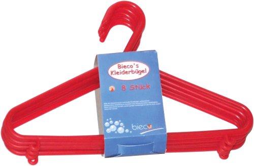 Bieco - Kinder Kleiderbügel Kunststoff, 8er Set, rot
