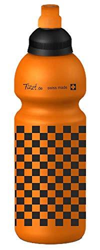 Fizzii Kinder- und Freizeittrinkflasche 600 ml (auslaufsicher bei Kohlensäure, schadstofffrei, spülmaschinenfest, Motiv: Schachbrett orange)