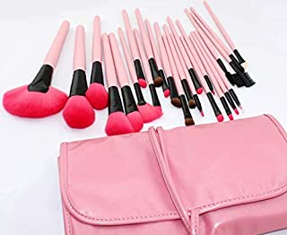 YYTstore owned 24pcs Pink Cosmetic Facial Makeup Brushes Tools Pink Leather Case