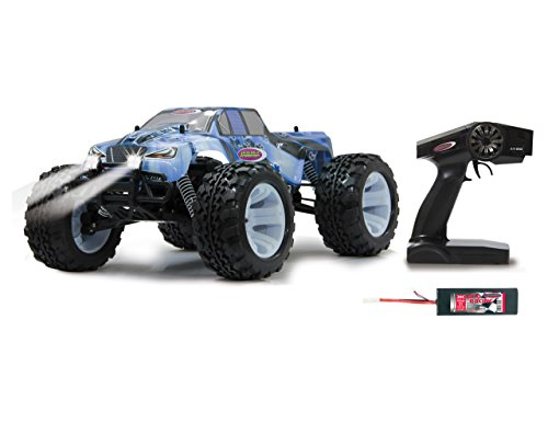 Jamara Tiger Ice Monstertruck 1:10 BL 4WD LiPo 2,4G LED - Allrad, Brushless, Akku, 65Kmh, Aluchassis, spritzwasserfest, Öldruckstoßdämpfer, Kugellager, Fahrwerk einstellbar, fahrfertig