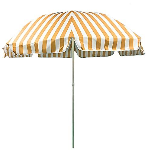 ZJM Sombrillas para Patio Sombrilla de Playa al Aire Libre, 7.2 pies Sombrilla de Patio a Rayas Paraguas de Mercado con 3-Capa a Prueba de Viento Costillas, Paño Oxford (Color : Orange+White)