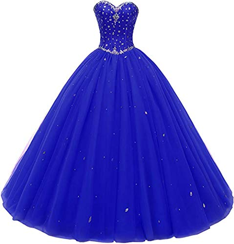 Likedpage Women's Sweetheart Ball Gown Tulle Quinceanera Dresses Prom Dress (US2, Royal Blue)…