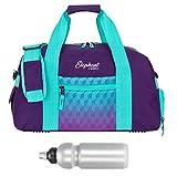 ELEPHANT/SPEAR Sporttasche mit Schuhfach/Naßfach Sport Tasche + Trinkflasche (Violet Cube (Lila-Türkis))