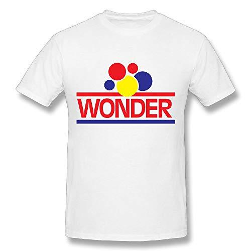 Udwios Men Men's Short Sleeved T-shirt Wonder Bread Logo Cool White Short Sleeve 3X