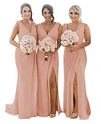 Bridesmaid Dresses Pleated Chiffon Split V-Neck Long Formal Gown for Beach Wedding Blush-28