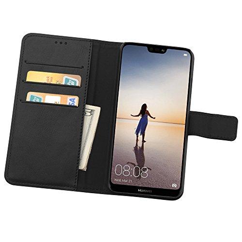 Simpeak Hülle Kompatibel mit Huawei P20 Lite, Handyhülle Kompatibel für P20 Lite Leder Flipcase [Kartensteckplätze] [Stand Feature] [Magnetic Closure Snap] - Schwarz - 5