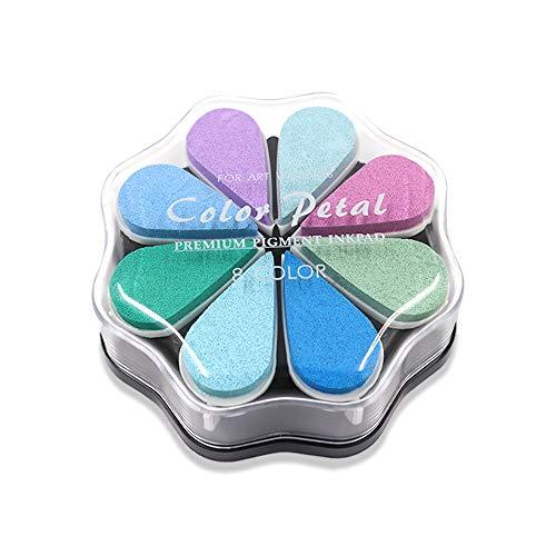 8 colores de punta de pétalo, almohadilla de tinta para manualidades, sello de tinta de dedo para niños, almohadilla de tinta de goma arcoíris para hacer tarjetas (estilo 5)