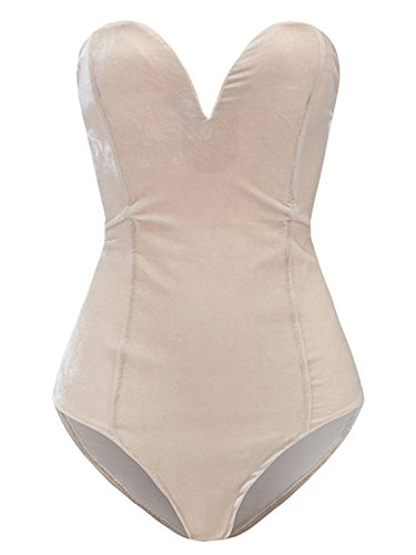 Plunging Sweetheart Back Lace Up Velvet Bodysuit Beige L