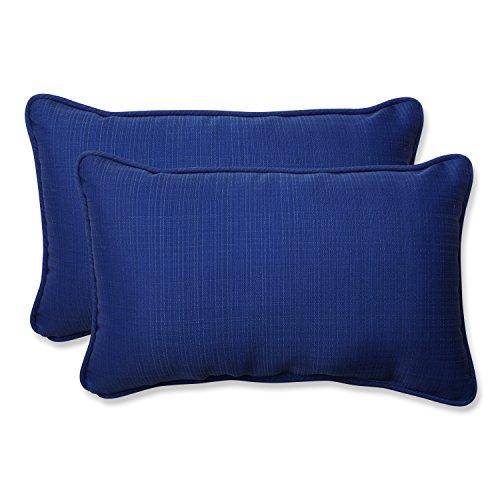 Pillow Perfect Outdoor/Indoor Veranda Cobalt Lumbar Pillows, 11.5' x 18.5', Blue, 2 Pack