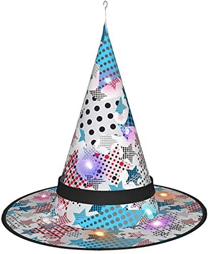 KINGAM Sombrero de bruja con diseño de estrellas, para Halloween, fiesta de disfraces, disfraz de cosplay, accesorio y diario