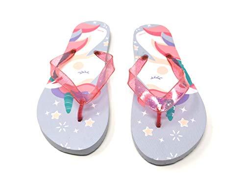 Einhorn Unicorn Eisprinzessin Kinder Zehentrenner Flip Badeschuhe Sommerschuhe Sandale Schuhe BL (Numeric_34)