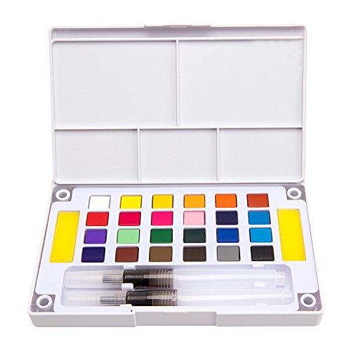 Gosear Pintura de Acuarela 24 Colores/El Conjunto de Pintura de pigmentos sólidos de Acuarela de Incluye Pinceles de Agua Que mezclan la Paleta para el Dibujo de Arte