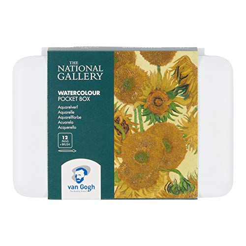 The National Gallery Van Gogh Watercolor Paint Set, Plastic Pocketbox, 12-Half Pan General Selection, Sunflowers