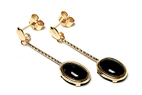 9ct Gold Black Onyx long Drop Dangly Earrings