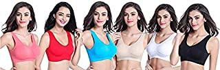 Dream ND Sports Bra for Girls and Women Non Padded Non Wired Seamless Bra (Pack of 6, Free Size