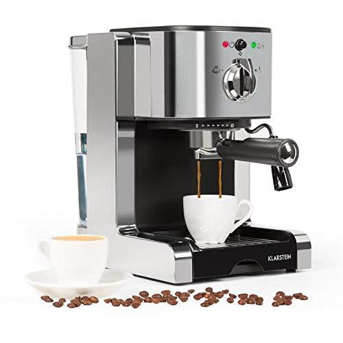 Klarstein Passionata Rossa 20 Espresso Machine • 20 Bar • Capuccino • Milk Foam • 1350W • Stylish Design for Modern Kitchens • Steam Nozzle for Frothing Milk and Preparing Hot Drinks • Silver