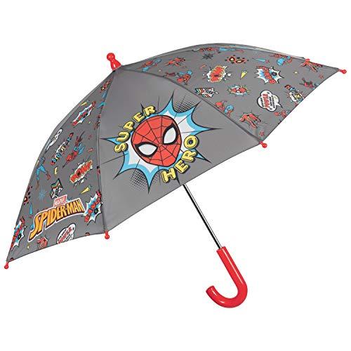 Kinder Regenschirm Spiderman Grau - Marvel Spider Man Kinderschirm für Kleine Jungen - Regen Schirm Windfest Sturmsicher - Kinderregenschirm Kleinkind 3 bis 6 Jahren - Durchmesser 76 cm - Perletti
