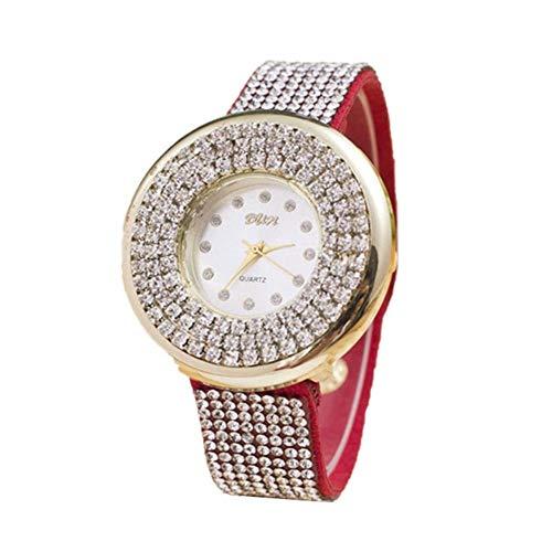 MoGist Damenmodelle Sternenuhr PU Wasserdicht Und Langlebig Armbanduhr 1 STÜCKE (Red)