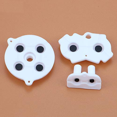 Silicone Conductive Rubber Pads Keypad Button Adhesive for Nintendo Gameboy Advance GBA Console Buttons Repair Part (White)
