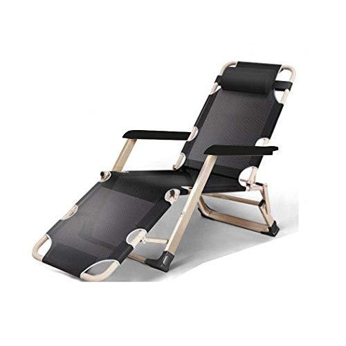 FACAZ Silla reclinable Plegable al Aire Libre, sillón de Patio, Tumbona de Playa para jardín al Aire Libre, Soporte 120Kg-Teslin Negro