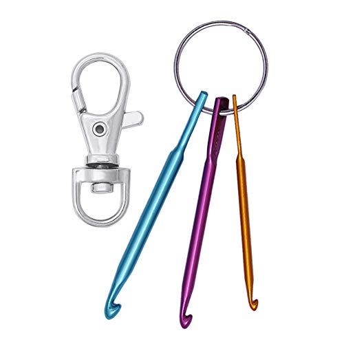 Mini Crochet Hooks with Keychain and Swivel Hooks Aluminum Knitting Needles Tool Suitable for Yarn Knitting and Sewing Perfect for Pro or Beginners(3mm,4mm,5mm)