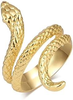 Anillo de serpiente punk retro para hombres y mujeres exagerados antiguos Siver oro apertura ajustable anillos Rock Exager...