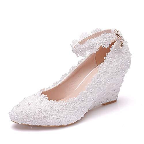 Bewinch Zapatos De Novia para Mujer, Encaje De Perlas, Tacones Altos Adelgazantes,...