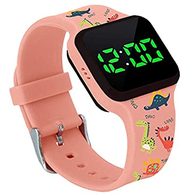 Potty Training Timer Watch with Flashing Lights and Music Tones Pink - Water Resistant, Rechargeable, Dinosaur Pattern Colorful Band, Discreet, Smart Sensor, Potty Training Watch from Athena Futures Inc.