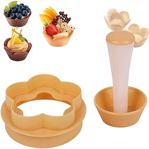 Plastic Flower/Round Dough Cookie Mold Set,Creative Cake Cup Presser Cupcake Muffin Mold Bakeware Cake Tools,DIY Baking Kit Cake Cup Press Biscuit Mold (1 set)