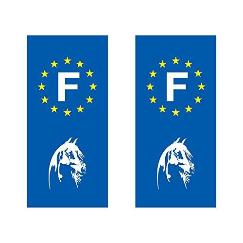 Lot de 2 sticker plaque immatriculation voiture logo régionaux Tête de cheval