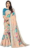 CLOTHAM Women's Banarasi Linen Saree With Un-stitched Blouse (Digital_Print_Saree110_Multicolored)