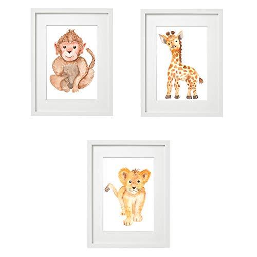 Kinderzimmer Bilder Babyzimmer Poster DIN A4 | Mädchen Junge | Baby Tiere | farbig | Babyzimmer Deko (3er #7)