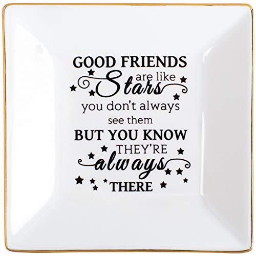 Kaidouma Friends Gift for Her Ring Trinket Dish Ceramic Jewelry Plate for Birthday Christmas - Good Friends are Like Stars - You Don