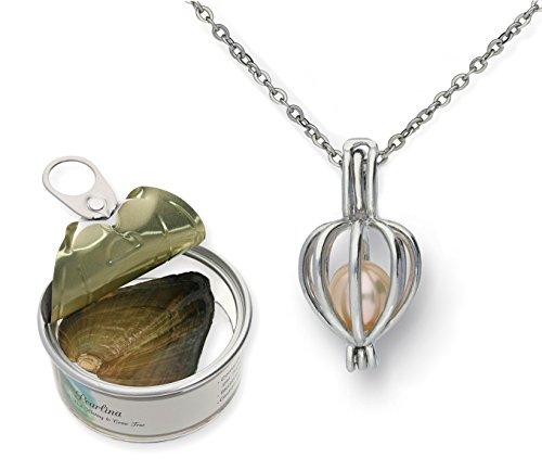 Herz-Halskette, Set mit Anhänger-Medaillon für Süßwasser-Zuchtperle in Auster, Geschenk-Set, 45,7cm Kette