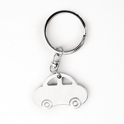 Llavero – Diseño de coche – Acero inoxidable cromado brillante – Diseño práctico y elegante – Tamaño con llavero L 8 x B 4,3 x H 0,5 cm