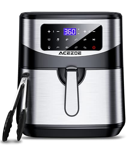 7.4 Qt Air Fryer, Acezoe Electric Air Fryers XL Hot Oven 1700W Oilless Cooker LED Touch Screen with 10 Cooking Functions, Preheat, Nonstick Basket, Stainless Steel Large Vortex Air Fryers