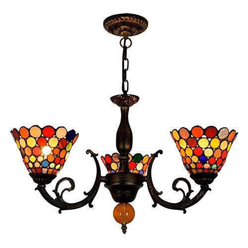 Tiffany Style Chandelier Hollow, Vintage Bohemia Vetrata Plafoniera Plafoncino a sospensione 3 luci, illuminazione a sospensione per sala da pranzo, camera da letto, soggiorno