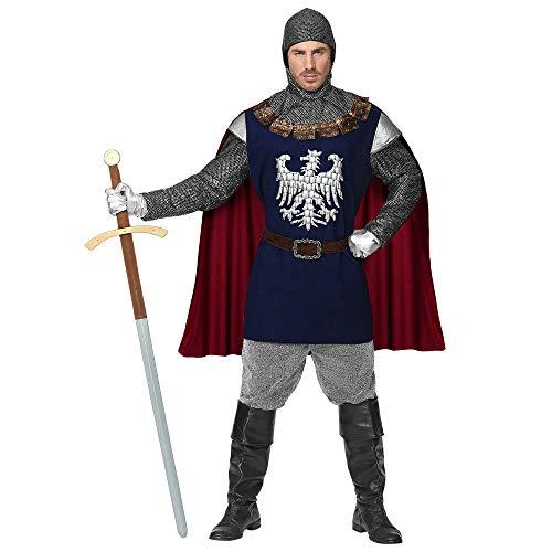 Widmann 08144 08144-Kostüm Ritter, Oberteil mit Umhang, Gürtel, Kapuze, Mittelalter, Karneval, Mottoparty, Herren, Mehrfarbig, XL