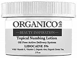 ORGANICOLAB, 5% Lidocaine Topical Numbing Non Oily Lotion, With Vitamin C & E, Organic Aloe and Organic Green Tea for Deep...