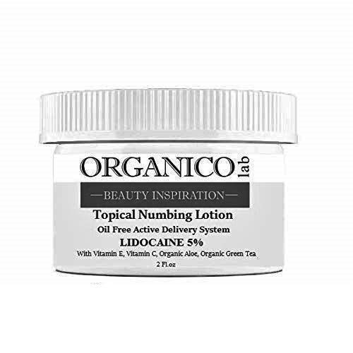 ORGANICOLAB, 5% Lidocaine Topical Numbing Non Oily Lotion, With Vitamin C & E, Organic Aloe and Organic Green Tea for Deeper Penetration, Local and Anorectal Discomfort, 2 fl.oz