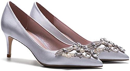 YIXINY Pumps LH-2885 Einzelne Schuhe Schuhe Schuhe Frau Seide + PU Hand Eingelegt Strass Perle Gut Ferse Spitz Flacher Mund Hochzeit High Heels Silber (Farbe   6cm, Größe   EU36 UK4 CN36)  neuer Stil