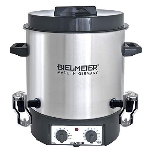 Bielmeier 495500 Einkoch und Glühwein-Vollautomat, 27 L, 2 x 3/8 Zoll Push-Kunststoff-Auslaufhahn, 1800 W, BHG 495.5
