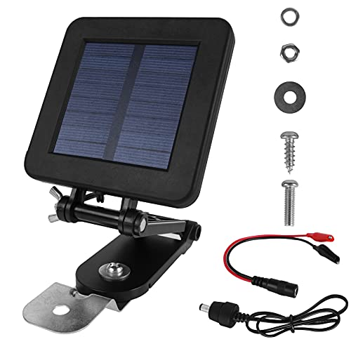 shumi Solar Panel for Deer Feeder - 6V Solar Panel Waterproof Small Solar Battery Charger Maintainer with an Adjustable Bracket and Alligator Clip for 6 Volt Rechargeable Batteries