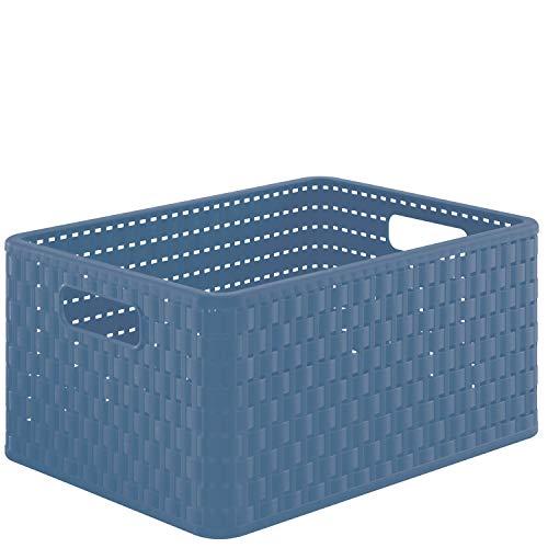 Rotho Country Aufbewahrungskiste 18l in Rattan-Optik, Kunststoff (PP) BPA-frei, blau, A4/18l (36,8 x 27,8 x 19,1 cm)
